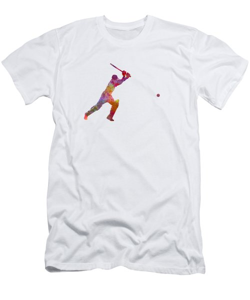 Cricket Player Batsman Silhouette 04 Men's T-Shirt (Slim Fit) by Pablo Romero