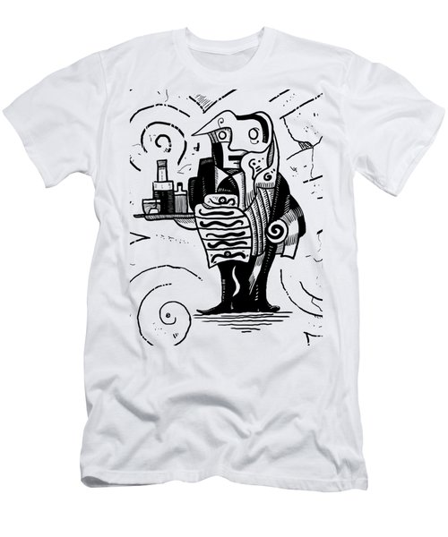 Cubist Waiter Men's T-Shirt (Slim Fit) by Sotuland Art