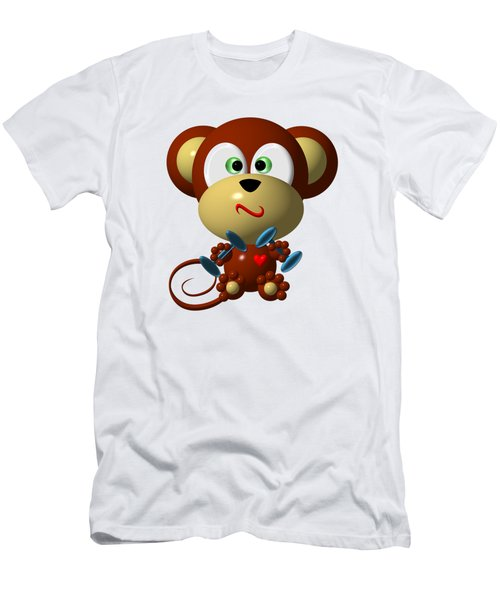 Cute Monkey Lifting Weights Men's T-Shirt (Slim Fit) by Rose Santuci-Sofranko