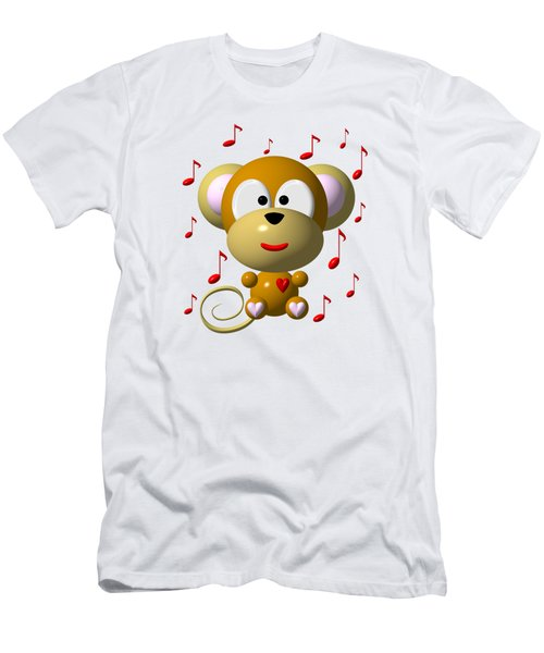 Cute Musical Monkey Men's T-Shirt (Slim Fit) by Rose Santuci-Sofranko