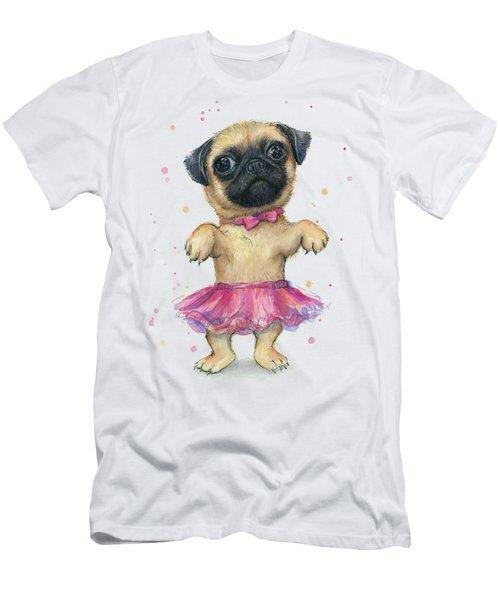 Cute Pug Puppy Men's T-Shirt (Slim Fit) by Olga Shvartsur