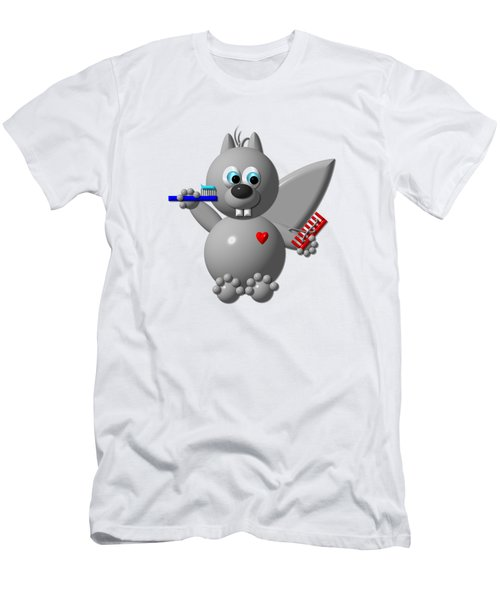 Cute Squirrel Brushing It's Hair And Teeth Men's T-Shirt (Slim Fit) by Rose Santuci-Sofranko