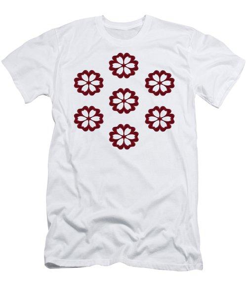 Cyber Flower Red Men's T-Shirt (Slim Fit) by Daniel Hagerman