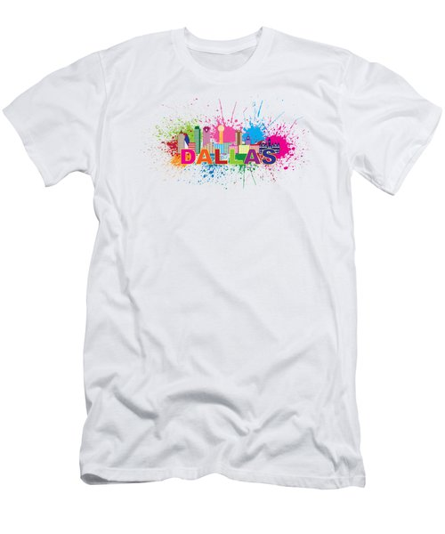 Dallas Skyline Paint Splatter Text Illustration Men's T-Shirt (Slim Fit) by Jit Lim