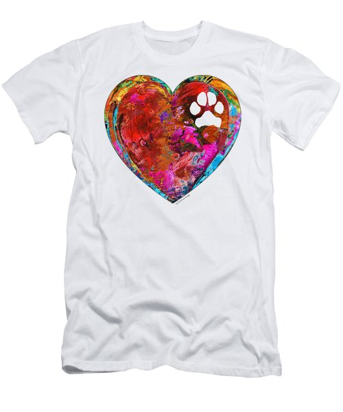 Dog Art - Puppy Love 2 - Sharon Cummings Men's T-Shirt (Slim Fit) by Sharon Cummings