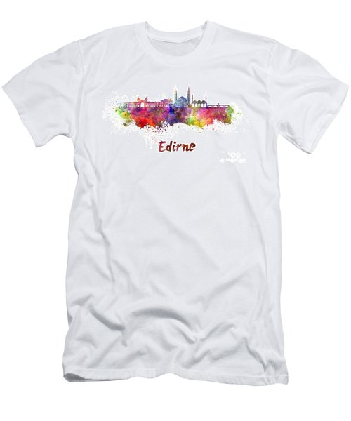 Edirne Skyline In Watercolor Men's T-Shirt (Slim Fit) by Pablo Romero