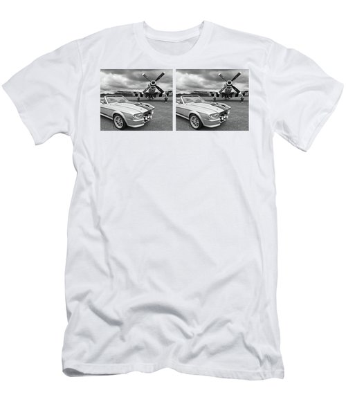 Eleanor Mustang With P51 Black And White Men's T-Shirt (Slim Fit) by Gill Billington