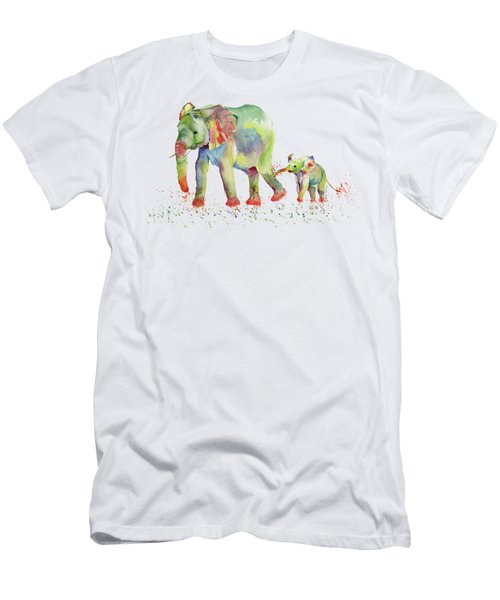 Elephant Family Watercolor  Men's T-Shirt (Slim Fit) by Melly Terpening