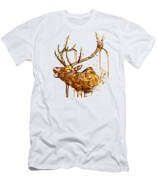 Elk In Watercolor Men's T-Shirt (Slim Fit) by Marian Voicu