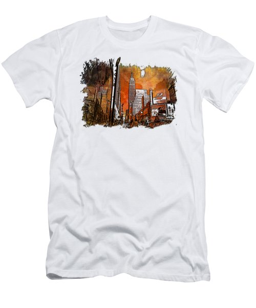 Empire State Reflections Earthy Rainbow 3 Dimensional Men's T-Shirt (Slim Fit) by Di Designs