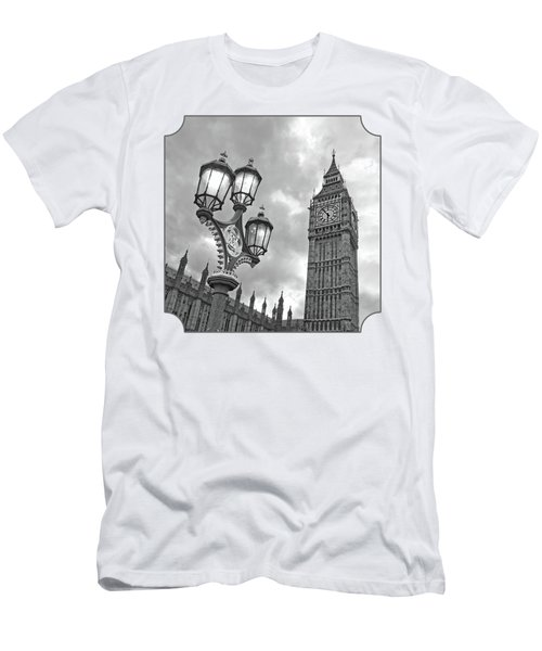 Evening Light At Big Ben In Black And White Men's T-Shirt (Slim Fit) by Gill Billington