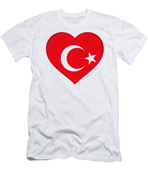Flag Of Turkey Heart Men's T-Shirt (Slim Fit) by Roy Pedersen