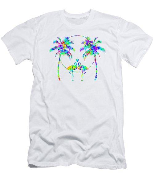 Flamingos In Love - Splatter Art Men's T-Shirt (Slim Fit) by Shara Lee