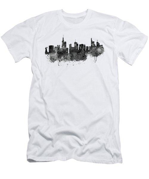 Frankfurt Black And White Skyline Men's T-Shirt (Slim Fit) by Marian Voicu