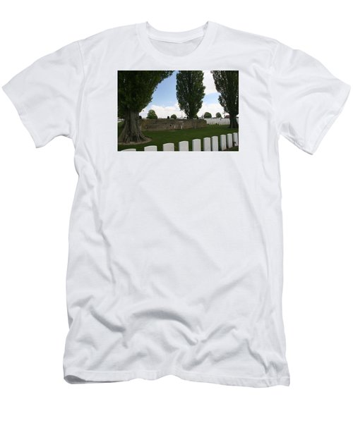 Men's T-Shirt (Slim Fit) featuring the photograph German Bunker At Tyne Cot Cemetery by Travel Pics