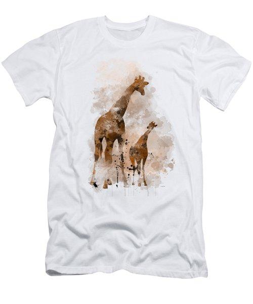 Giraffe And Baby Men's T-Shirt (Slim Fit) by Marlene Watson
