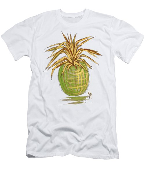 Green Gold Pineapple Painting Illustration Aroon Melane 2015 Collection By Madart Men's T-Shirt (Slim Fit) by Megan Duncanson