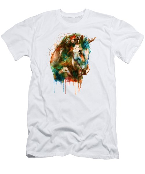 Horse Head Watercolor Men's T-Shirt (Slim Fit) by Marian Voicu