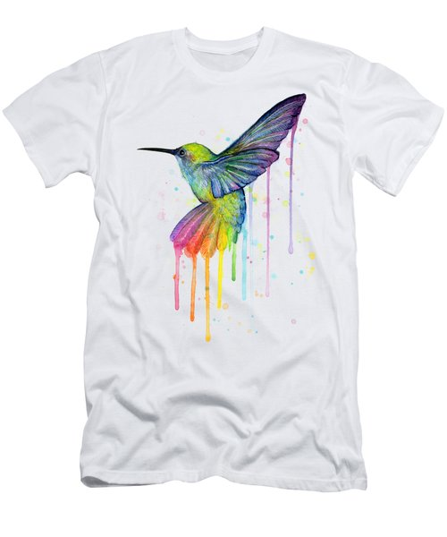 Hummingbird Of Watercolor Rainbow Men's T-Shirt (Slim Fit) by Olga Shvartsur