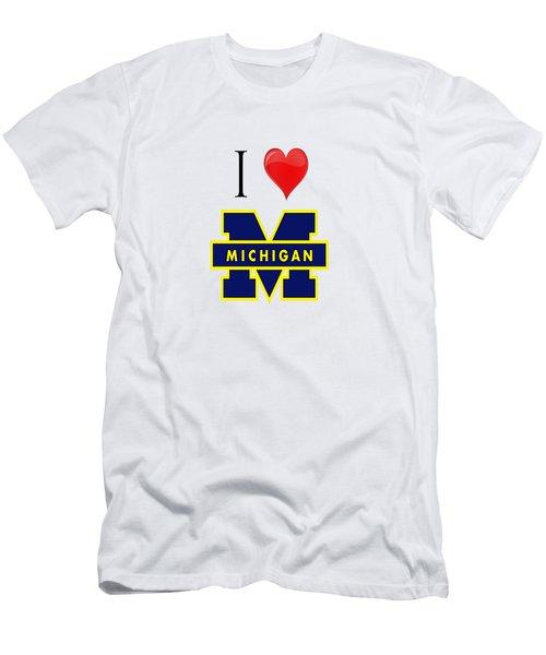 I Love Michigan Men's T-Shirt (Slim Fit) by Pat Cook