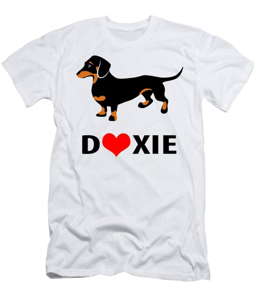 I Love My Doxie Men's T-Shirt (Slim Fit) by Antique Images