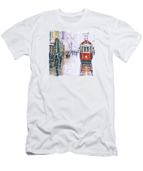 Istanbul Nostalgic Tramway Men's T-Shirt (Slim Fit) by Marian Voicu