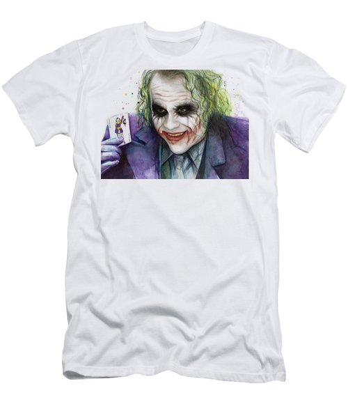 Joker Watercolor Portrait Men's T-Shirt (Slim Fit) by Olga Shvartsur