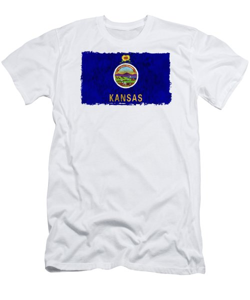 Kansas Flag Men's T-Shirt (Slim Fit) by World Art Prints And Designs