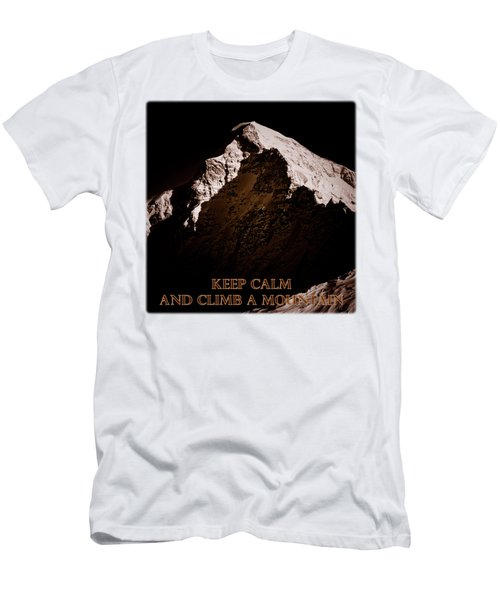 Keep Calm And Climb A Mountain Men's T-Shirt (Slim Fit) by Frank Tschakert