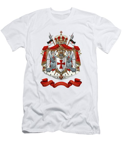 Knights Templar - Coat Of Arms Over White Leather Men's T-Shirt (Slim Fit) by Serge Averbukh