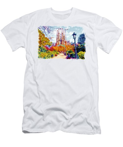 La Sagrada Familia - Park View Men's T-Shirt (Slim Fit) by Marian Voicu