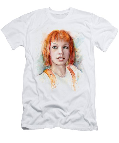 Leeloo Portrait Multipass The Fifth Element Men's T-Shirt (Slim Fit) by Olga Shvartsur