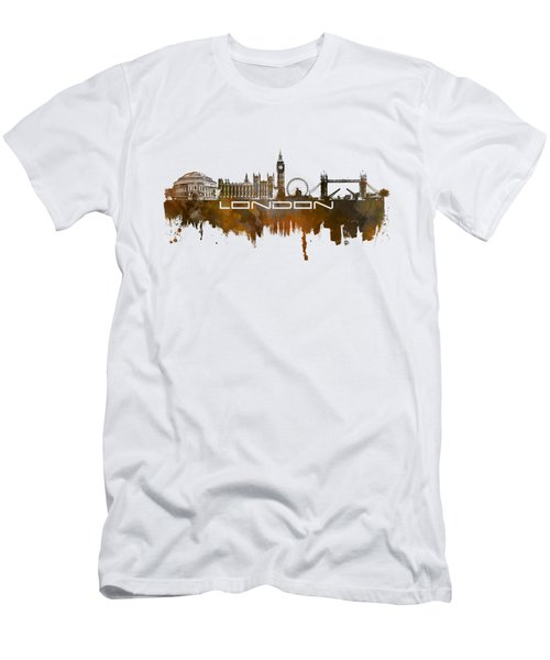 London Skyline City Brown Men's T-Shirt (Slim Fit) by Justyna JBJart