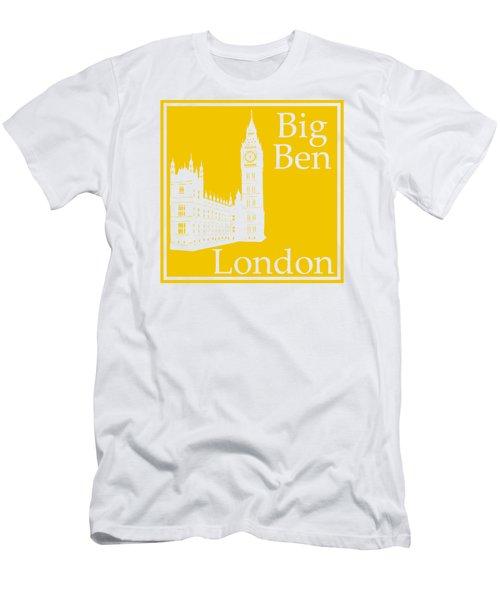 London's Big Ben In Mustard Yellow Men's T-Shirt (Slim Fit) by Custom Home Fashions