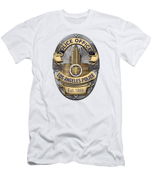 Los Angeles Police Department  -  L A P D  Police Officer Badge Over White Leather Men's T-Shirt (Slim Fit) by Serge Averbukh