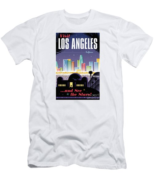 Los Angeles Retro Travel Poster Men's T-Shirt (Slim Fit) by Jim Zahniser