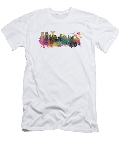 Los Angeles Skyline Men's T-Shirt (Slim Fit) by Justyna JBJart