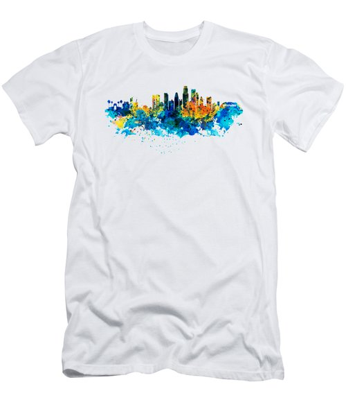 Los Angeles Skyline Men's T-Shirt (Slim Fit) by Marian Voicu