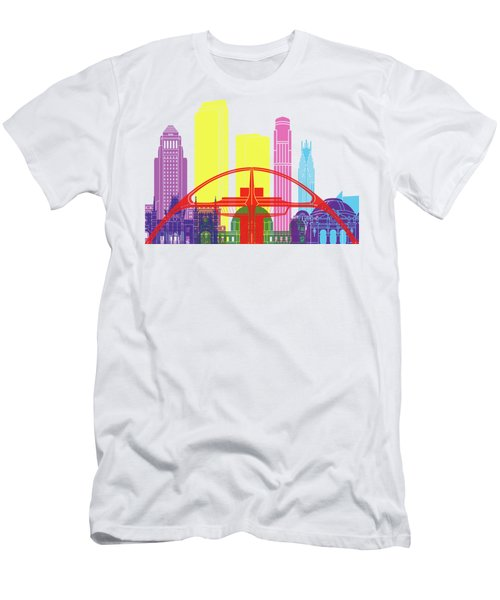 Los Angeles Skyline Pop Men's T-Shirt (Slim Fit) by Pablo Romero