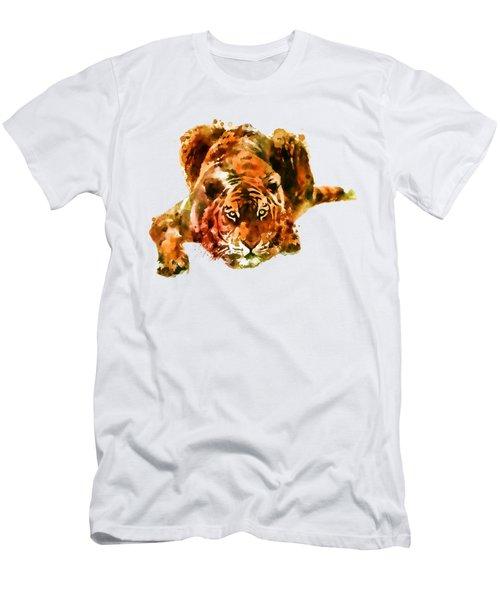 Lurking Tiger Men's T-Shirt (Slim Fit) by Marian Voicu