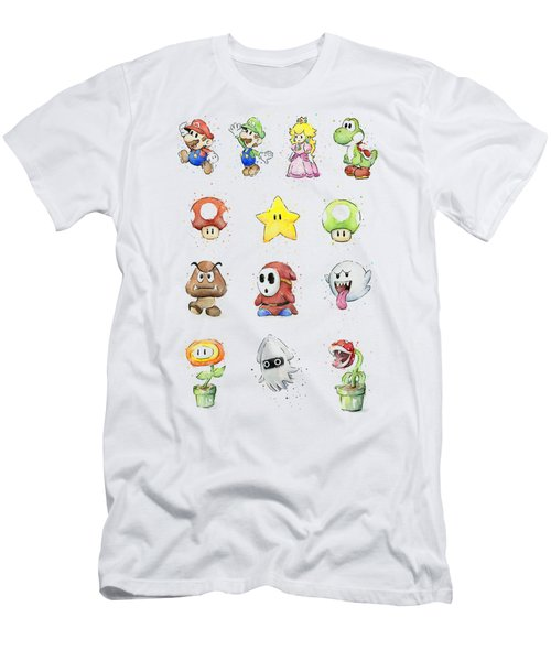 Mario Characters In Watercolor Men's T-Shirt (Slim Fit) by Olga Shvartsur