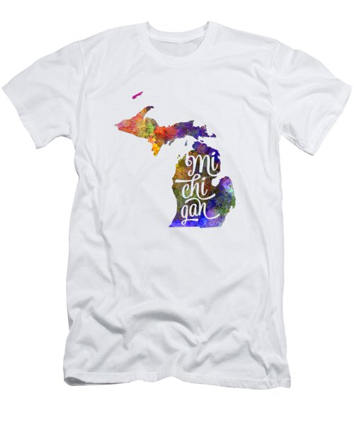 Michigan Us State In Watercolor Text Cut Out Men's T-Shirt (Slim Fit) by Pablo Romero