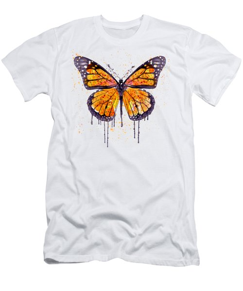 Monarch Butterfly Watercolor Men's T-Shirt (Slim Fit) by Marian Voicu