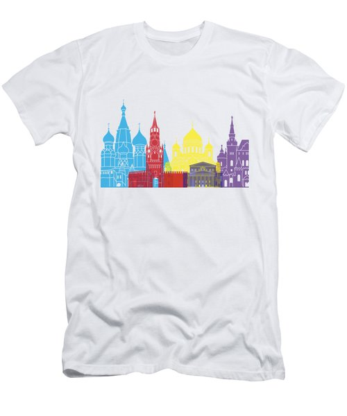 Moscow Skyline Pop Men's T-Shirt (Slim Fit) by Pablo Romero