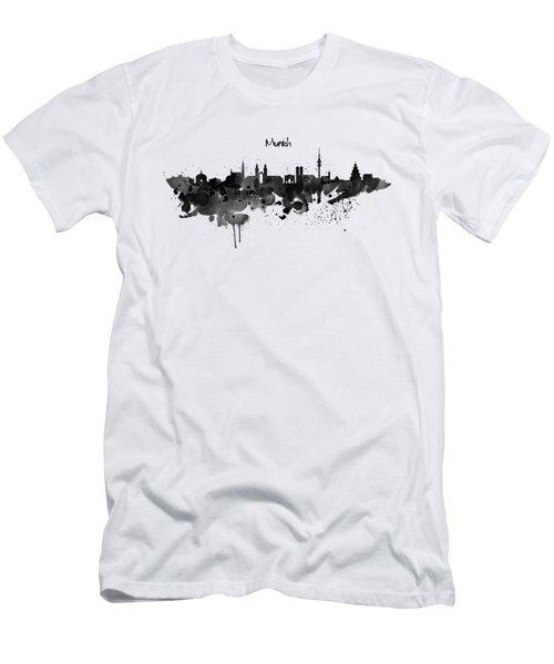 Munich Black And White Skyline Silhouette Men's T-Shirt (Slim Fit) by Marian Voicu