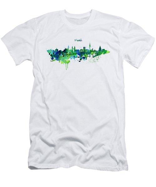 Munich Skyline Silhouette Men's T-Shirt (Slim Fit) by Marian Voicu