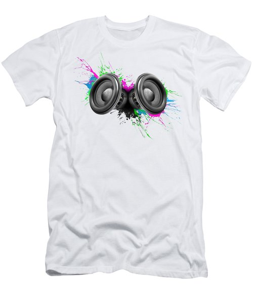 Music Speakers Colorful Design Men's T-Shirt (Slim Fit) by Johan Swanepoel