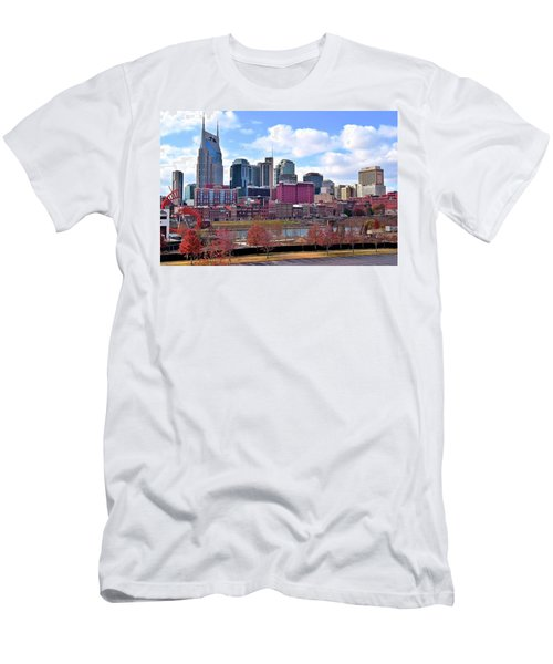 Nashville On The Riverfront Men's T-Shirt (Slim Fit) by Frozen in Time Fine Art Photography