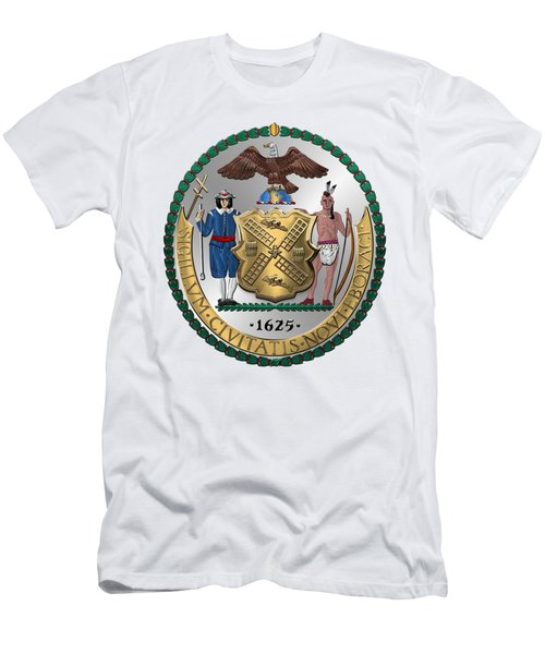 New York City Coat Of Arms - City Of New York Seal Over White Leather  Men's T-Shirt (Slim Fit) by Serge Averbukh