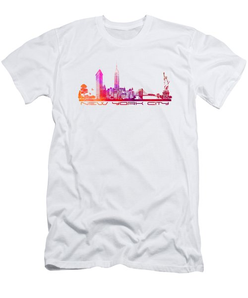 New York City Skyline Purple Men's T-Shirt (Slim Fit) by Justyna JBJart